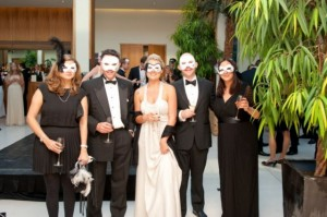 Bespoke masquerade masks designed for Mont Blanc with the Mont Blanc logo. Masks were white italian with black feathers and crystals