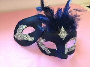 custom Vanity masks blue & silver couples masks