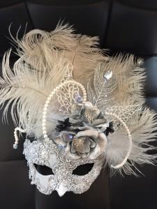 custom silver & Pearl light up mask