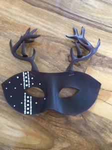 customised leather stag mask with swarovski crystals