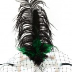 Green & Black Veiled Silver Mask