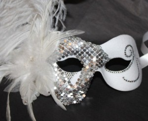 White feather mask bling with silver and Swarovski crystals
