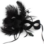 Black & White Burlesque Feather Mask