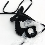 Black mask with vintage wedding lace, beaded lace and white rose