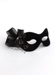 Black Gothic or Burlesque style mask with metal roses and veiling
