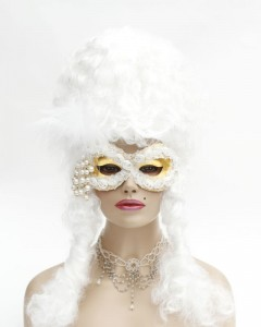 unique gold mask with white roses and pearls, baroque mask, venetian mask