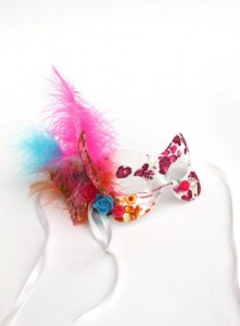 Exotic Masquerade Mask with butterflys, hot pink and blue and bright orange feathers