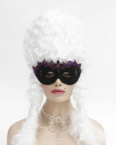 Gothic Black Masquerade Mask with purple lace, black metal cross and purple crystals