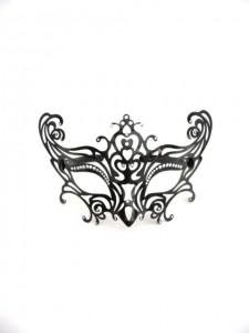 Venetian Filigree Mask, black metal with Swarovski Crystals