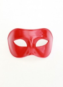 Red Venetian mask for men, paper mache, Italian, also in blue and green