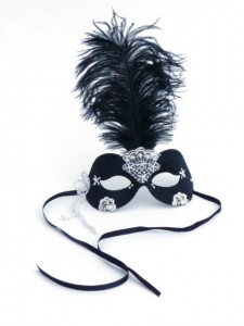 Black mask with white beaded lace, pearls and black ostrich feather for black & white masked ball