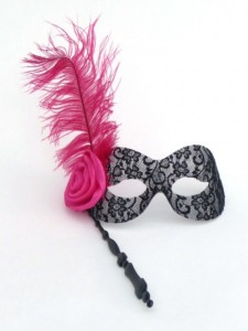 Burlesque Black lace stick mask with pink rose and hote pink Ostrich feather