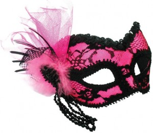 black and pink mask with headband to wear with glasses