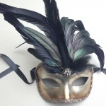 80. silver & black venetian feather mask