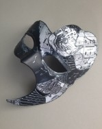 83. decoupaged black, grey & white phantom of the opera mask