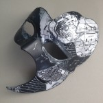 83. decoupaged black, grey & white phantom of the opera mask
