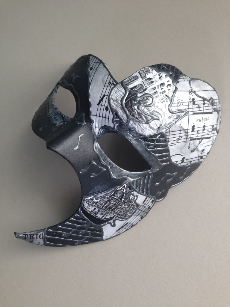 decoupaged black, grey & white phantom of the opera mask