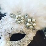 114. bridal Pearl, silver, crystal & White Lace Feather Venetian Masquerade Mask