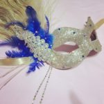 115. Gold & Royal Blue Crystal Peacock Mask