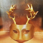 gold leather stag masquerade mask