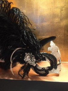 luxury champagne gold & black lace feather mask