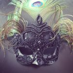 118. Beaded Black French Lace Luxury Mask with peacock feathers