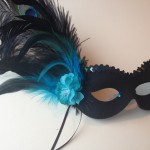 69.black & turquoise blue feather flower mask