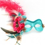 19. Turquoise & Pink Floral Mask