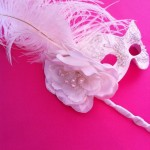 32. Bridal white lace stick mask