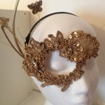 58. handmade gold one eye lace mask