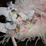 56.beatifull pink & Ivory lace bridal mask with flowers & butterflies