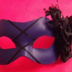 44. purple & black lace up mask