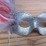 46.silver & coral diamante mask