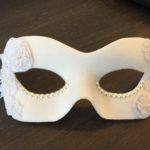 106. Elegant Bridal White & Pearl Eye Mask with white lace