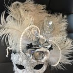 107. Custom Bellezza with Silver Beaded lace, Peacock Feathers, Pearls & Crystals