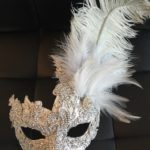 105. Custom Silver Beaded Lace Venetian Mask with Feathers & Swarovski Crystals