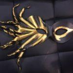111. Gold & Black Leather Eye Mask