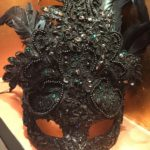 112. Couture Black Beaded Lace Masquerade Mask & Green Crystals