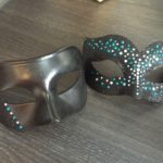 113. Turquoise, silver & Black Swarovski Crystal Matching Couple's Masks