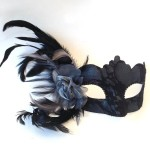 57. pewter grey & black feather venetian mask