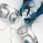 62. matching peacock silver masks