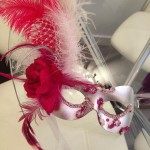 60. hot pink & silver feather mask