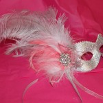 61. silver & coral feather diamante mask
