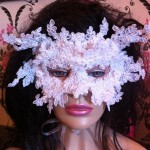 41. Full face white lace mask