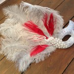 7.custom silver & red peacock feather mask