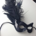 64. custom black & silver peacock mask