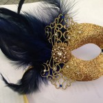 65. navy blue & gold filigree lace mask