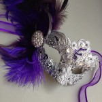 71. ornate jewelled purple & silver beaded mask