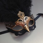 74. hand painted gold & black venetian feather mask