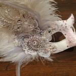 Pink & Ivory Lace Bridal Mask